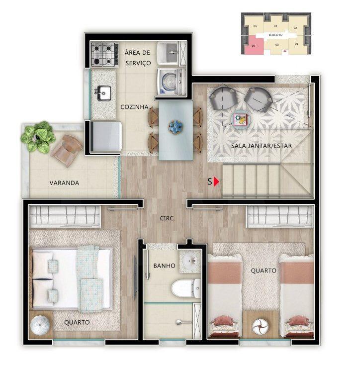Foto Apartamento de 2 quartos à venda em Venda Nova em Belo Horizonte - Imagem 03