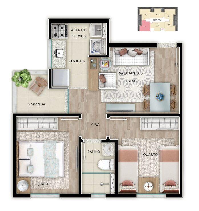 Foto Apartamento de 2 quartos à venda em Venda Nova em Belo Horizonte - Imagem 05