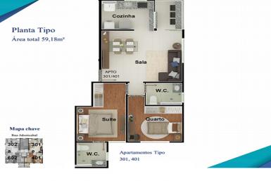 Foto Apartamento de 2 quartos à venda no Nova Granada em Belo Horizonte - Imagem 01