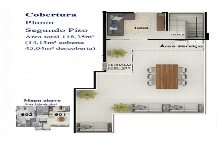 Foto Cobertura de 2 quartos à venda no Nova Granada em Belo Horizonte - Imagem