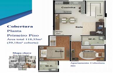 Foto Cobertura de 2 quartos à venda no Nova Granada em Belo Horizonte - Imagem 01