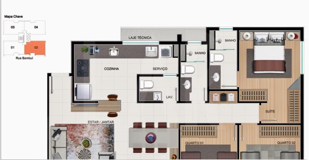 Foto Apartamento de 3 quartos à venda no Cruzeiro em Belo Horizonte - Imagem 03
