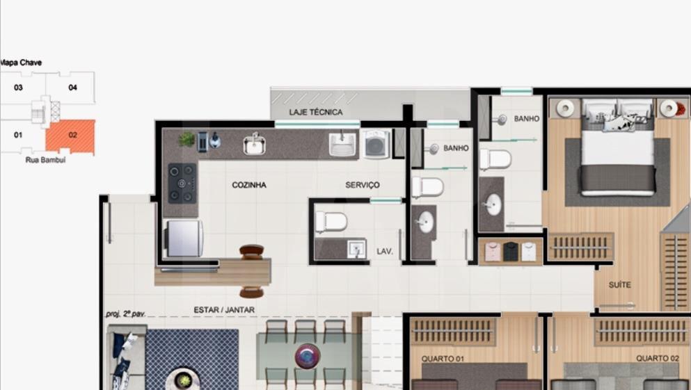 Foto Apartamento de 3 quartos à venda no Cruzeiro em Belo Horizonte - Imagem 04