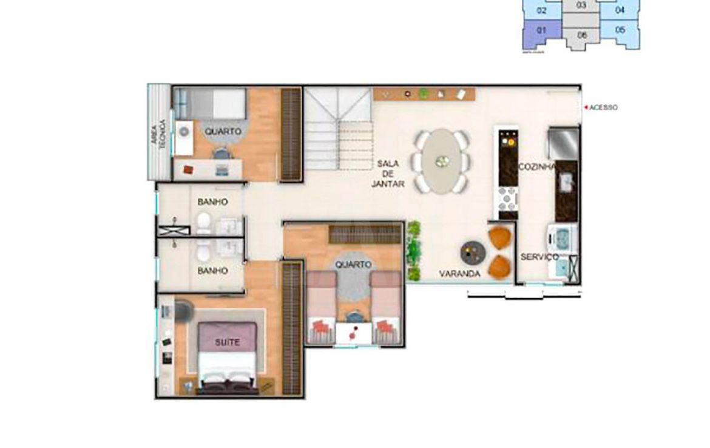 Foto Apartamento de 3 quartos à venda no Nova Granada em Belo Horizonte - Imagem 06