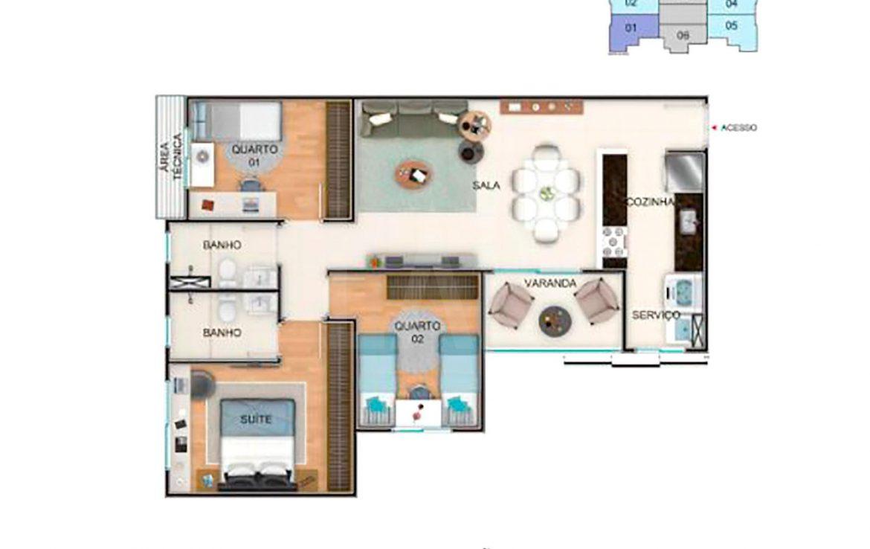 Foto Apartamento de 3 quartos à venda no Nova Granada em Belo Horizonte - Imagem 02