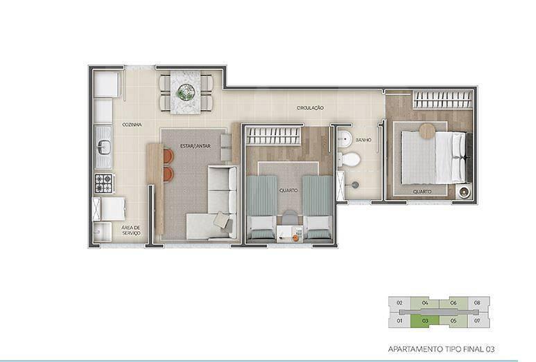 Foto Apartamento de 2 quartos à venda no Santa Maria em Belo Horizonte - Imagem